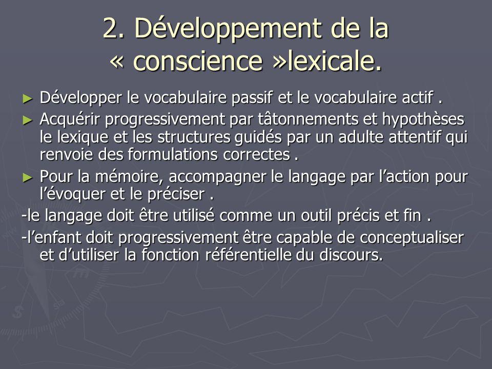 2. Développement de la « conscience »lexicale.