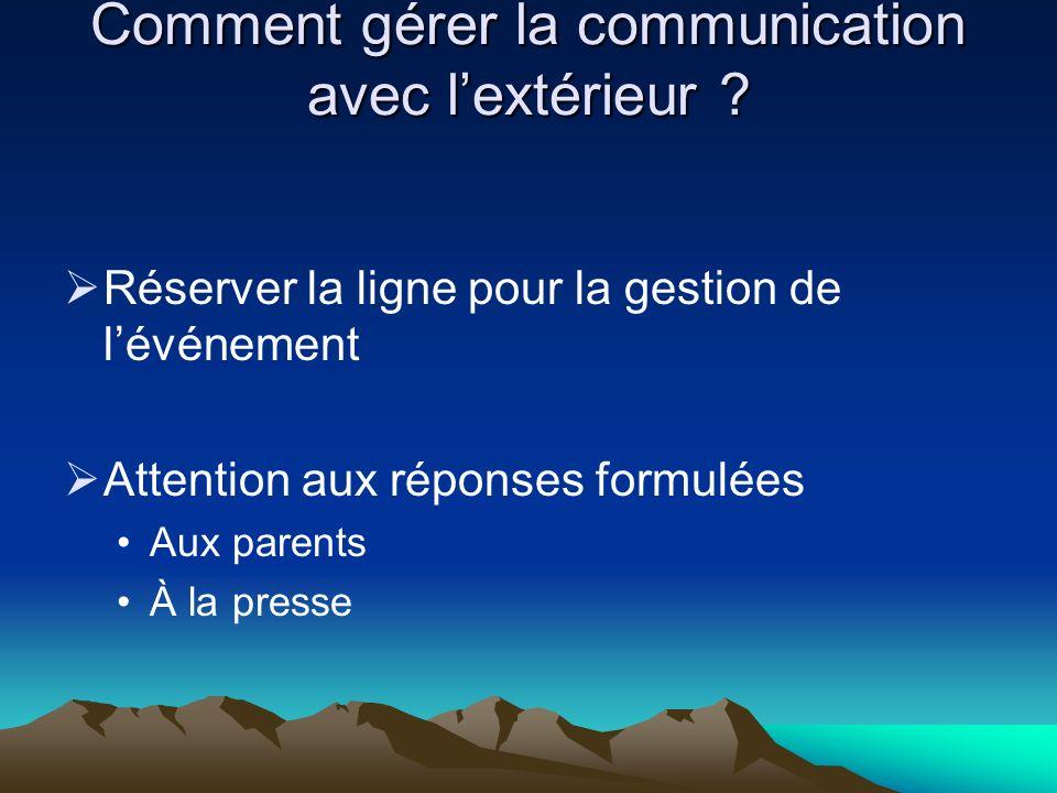 Comment gérer la communication avec l'extérieur