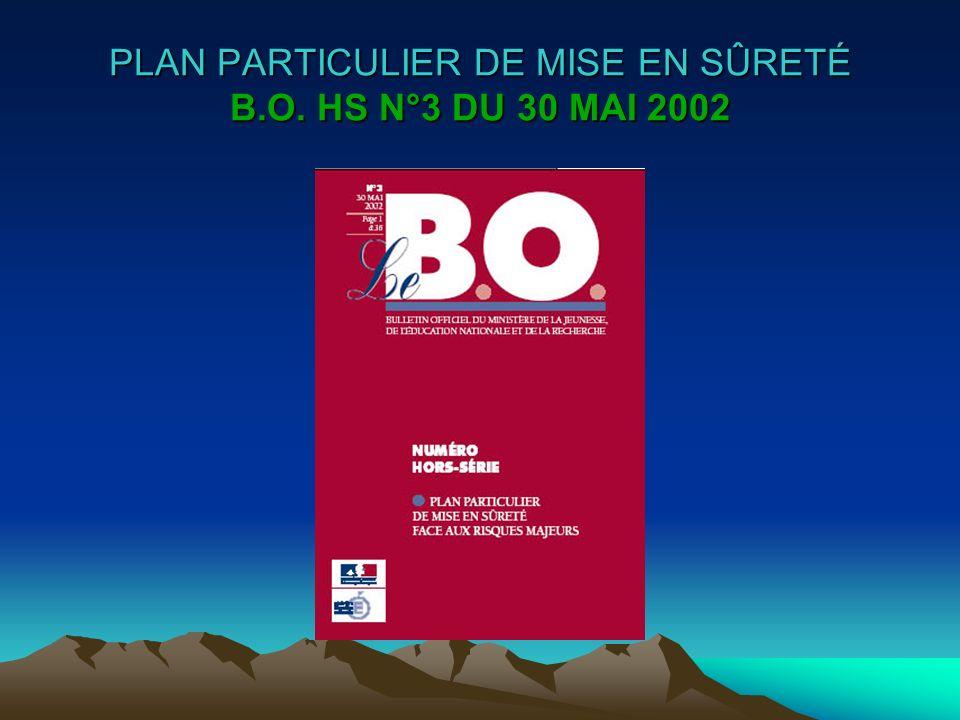 PLAN PARTICULIER DE MISE EN SÛRETÉ B.O. HS N°3 DU 30 MAI 2002