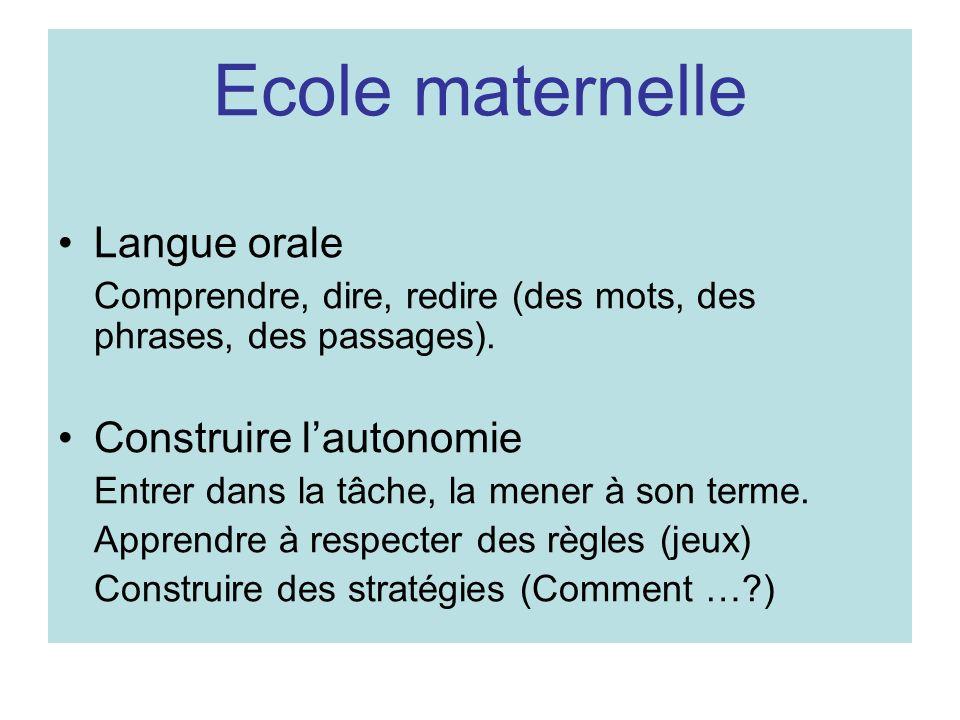 Ecole maternelle Langue orale Construire l'autonomie