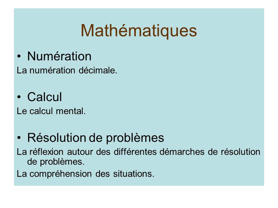Mathématiques Numération Calcul Résolution de problèmes