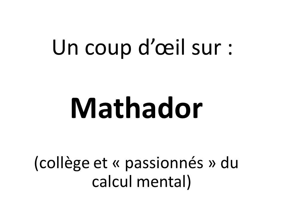 (collège et « passionnés » du calcul mental)