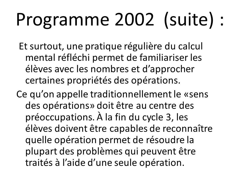 Programme 2002 (suite) :