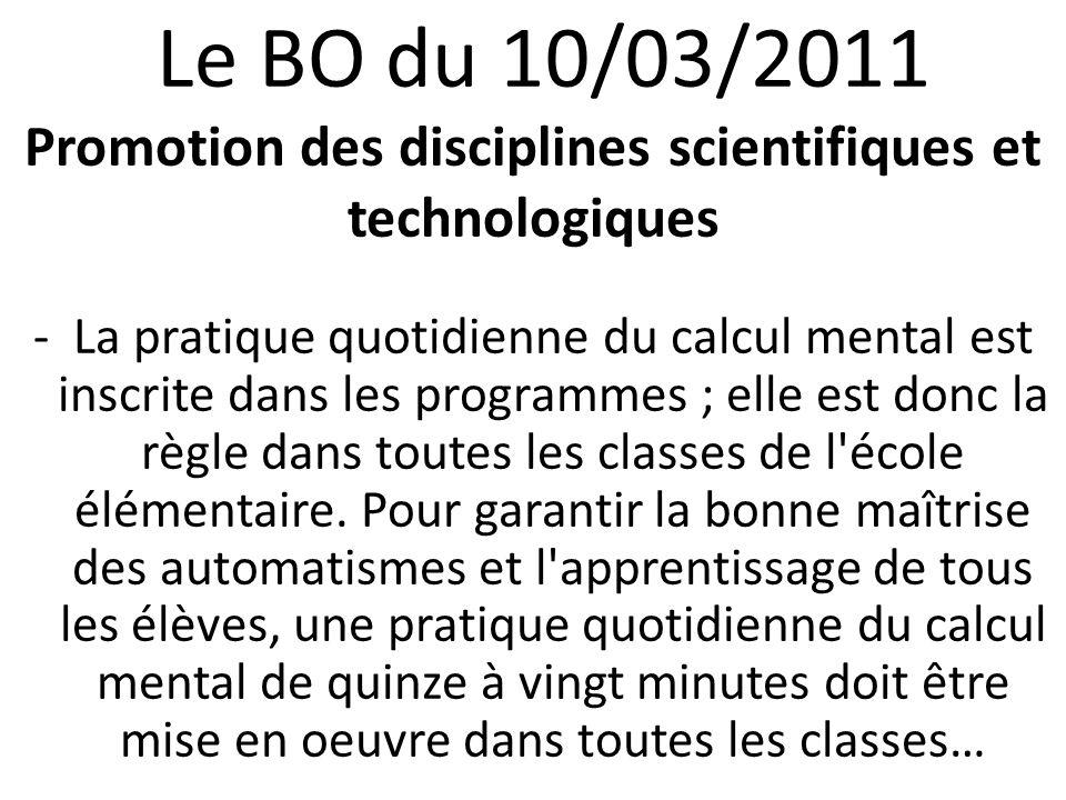 Le BO du 10/03/2011 Promotion des disciplines scientifiques et technologiques