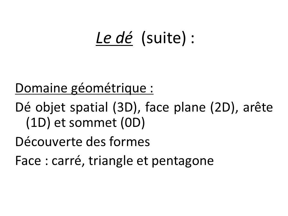 Le dé (suite) : Domaine géométrique :