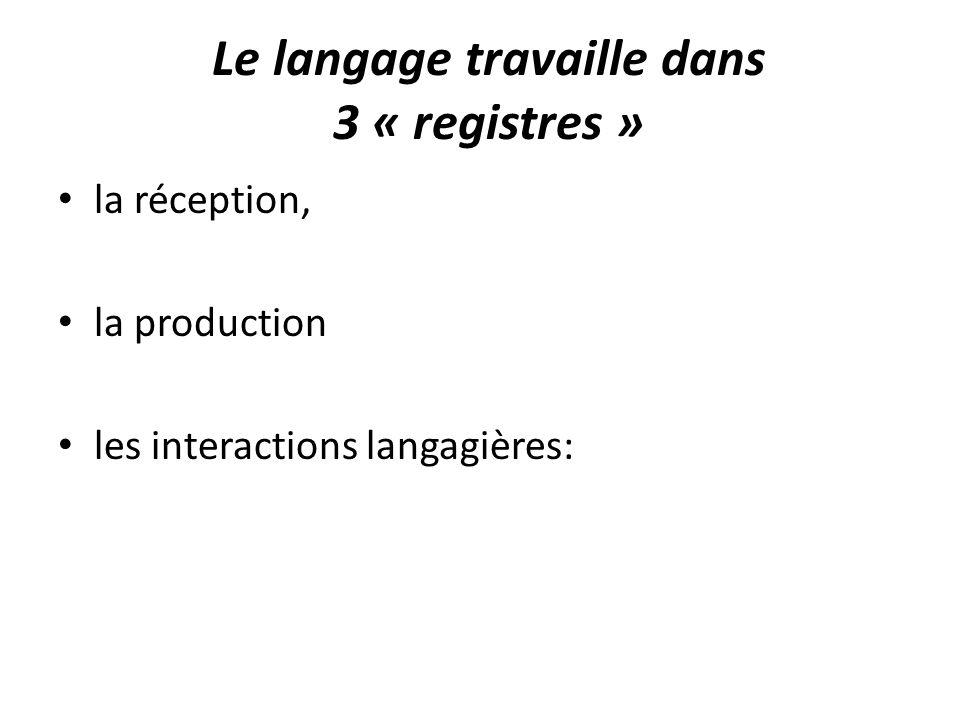 Le langage travaille dans 3 « registres »