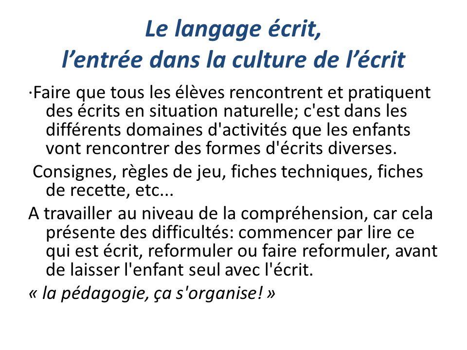 Le langage écrit, l'entrée dans la culture de l'écrit