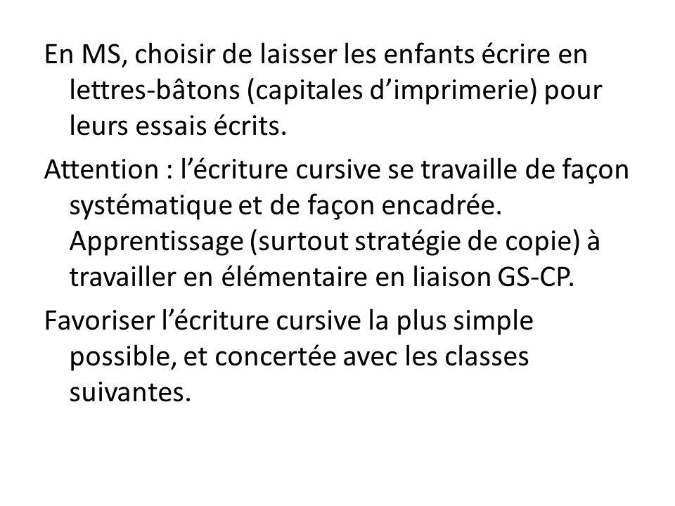 En MS, choisir de laisser les enfants écrire en lettres-bâtons (capitales d'imprimerie) pour leurs essais écrits.