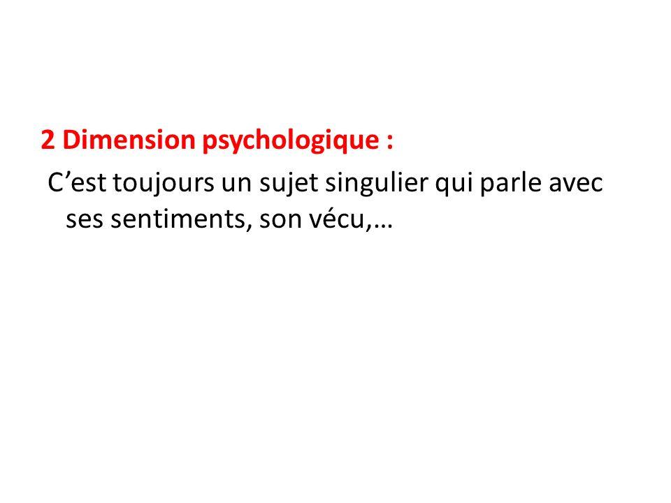 2 Dimension psychologique : C'est toujours un sujet singulier qui parle avec ses sentiments, son vécu,…