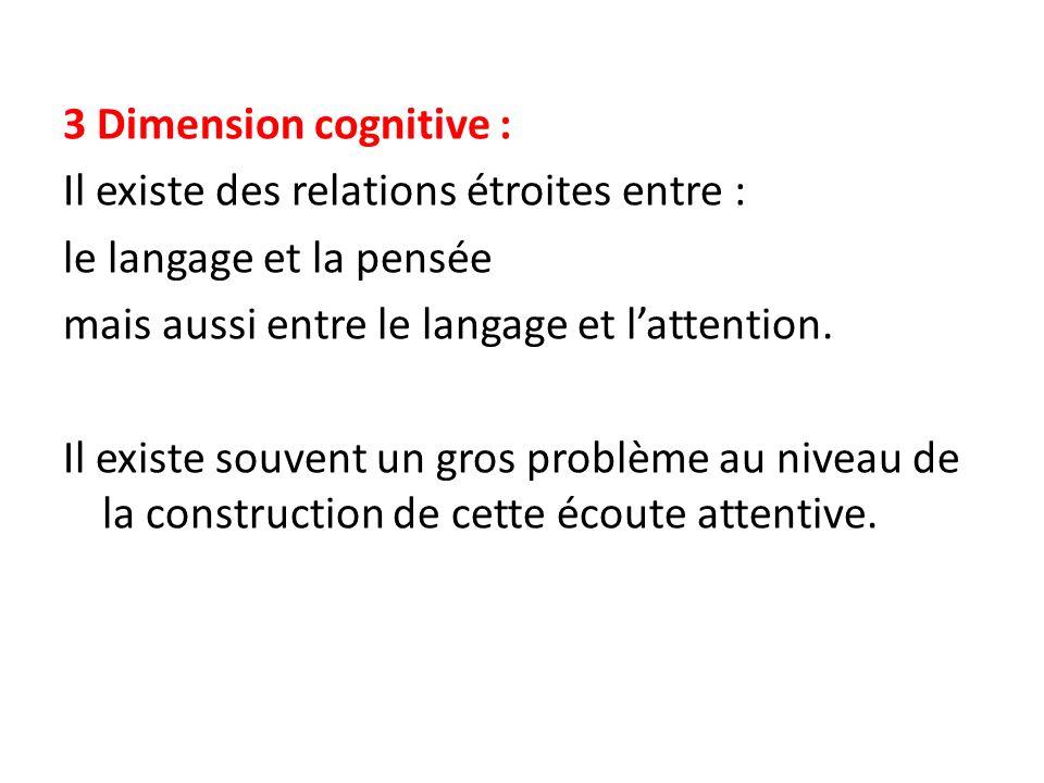 3 Dimension cognitive : Il existe des relations étroites entre : le langage et la pensée mais aussi entre le langage et l'attention.