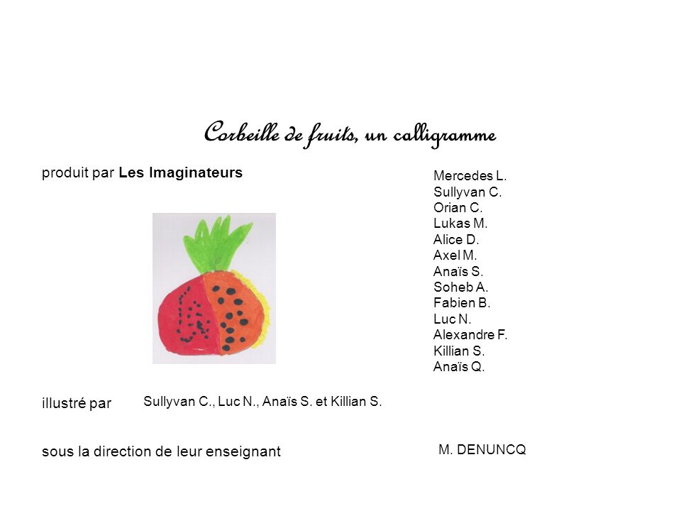 Corbeille de fruits, un calligramme