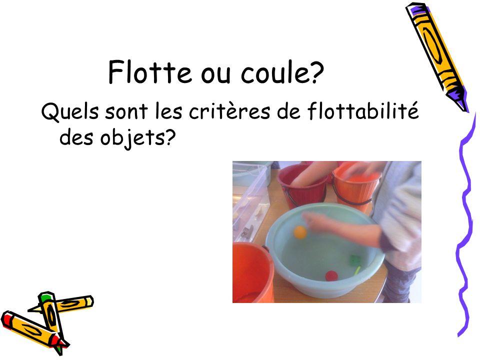 Flotte ou coule Quels sont les critères de flottabilité des objets