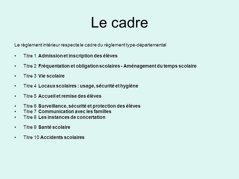 Le cadre Le règlement intérieur respecte le cadre du règlement type-départemental. Titre 1 Admission et inscription des élèves.