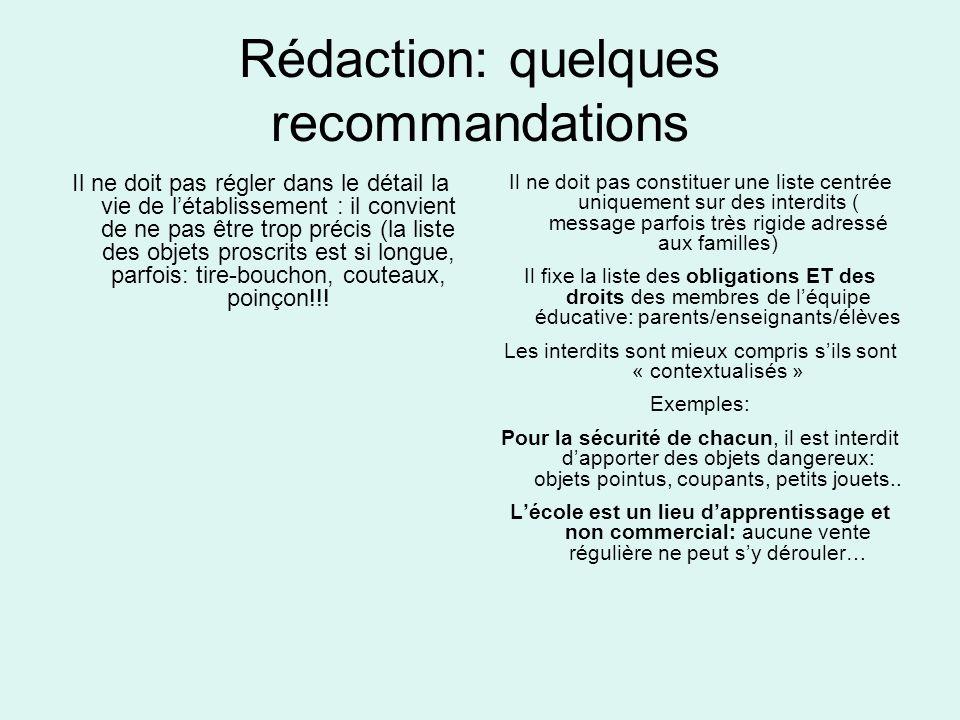 Rédaction: quelques recommandations