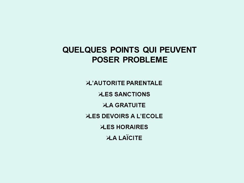 QUELQUES POINTS QUI PEUVENT POSER PROBLEME
