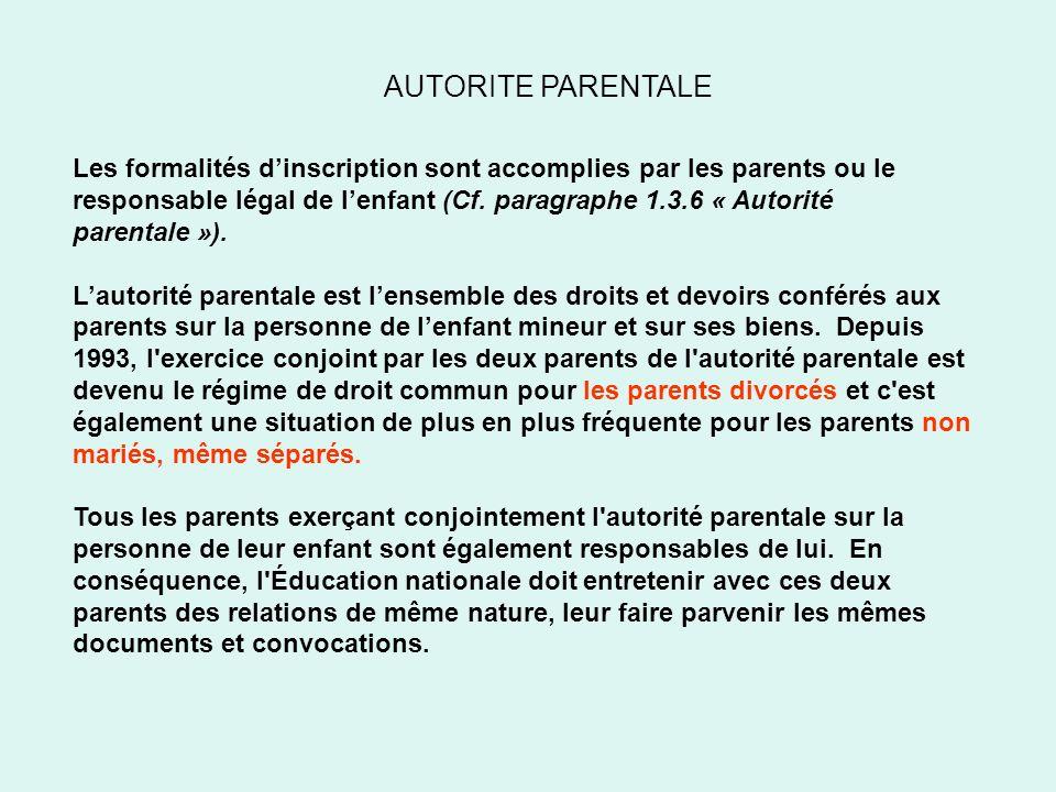AUTORITE PARENTALE