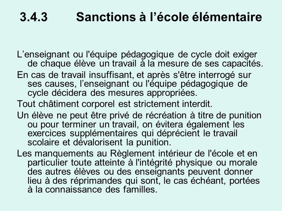 3.4.3 Sanctions à l'école élémentaire