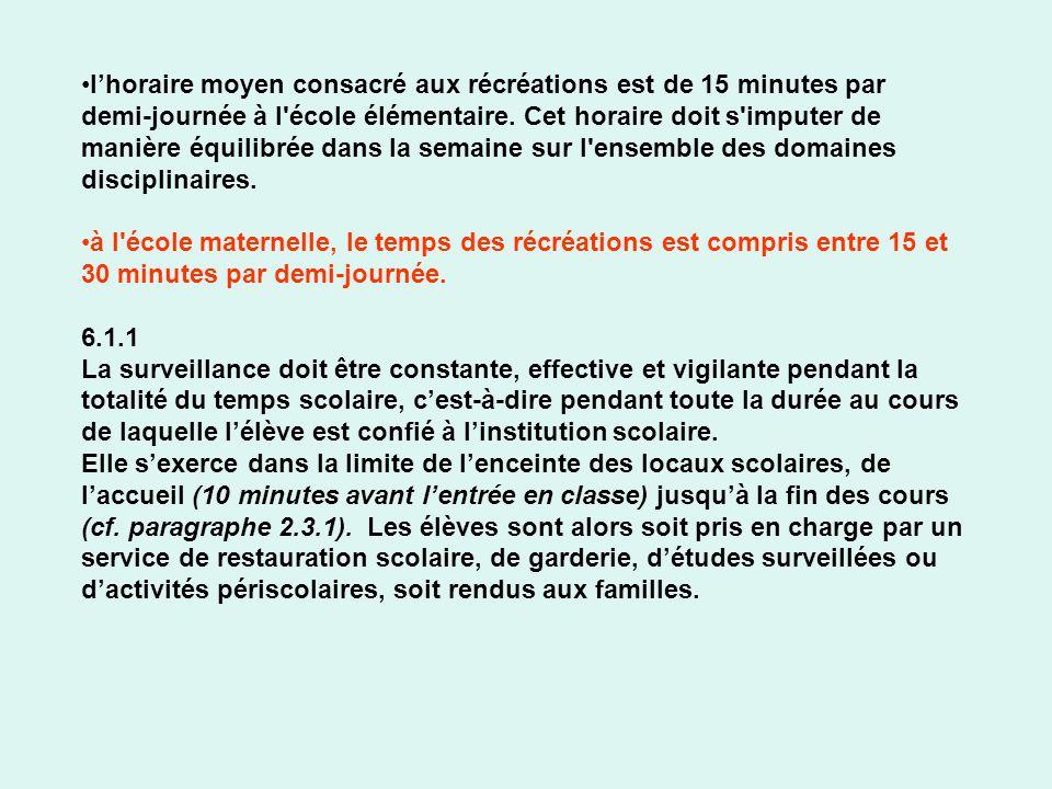 l'horaire moyen consacré aux récréations est de 15 minutes par demi-journée à l école élémentaire. Cet horaire doit s imputer de manière équilibrée dans la semaine sur l ensemble des domaines disciplinaires.