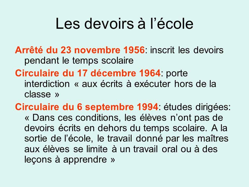 Les devoirs à l'école Arrêté du 23 novembre 1956: inscrit les devoirs pendant le temps scolaire.