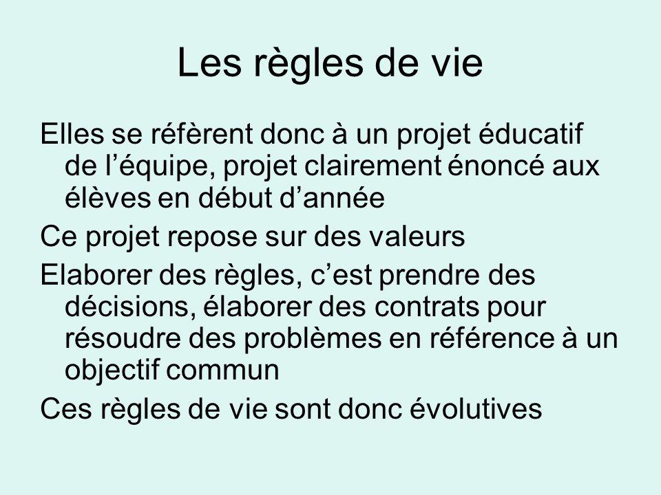 Les règles de vieElles se réfèrent donc à un projet éducatif de l'équipe, projet clairement énoncé aux élèves en début d'année.