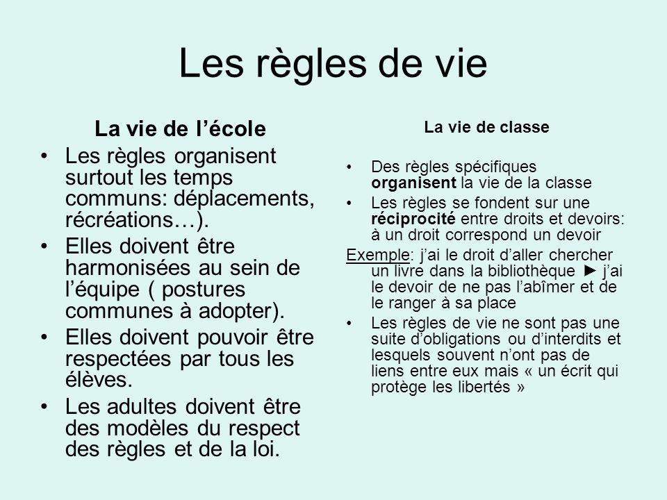 Les règles de vie La vie de l'école