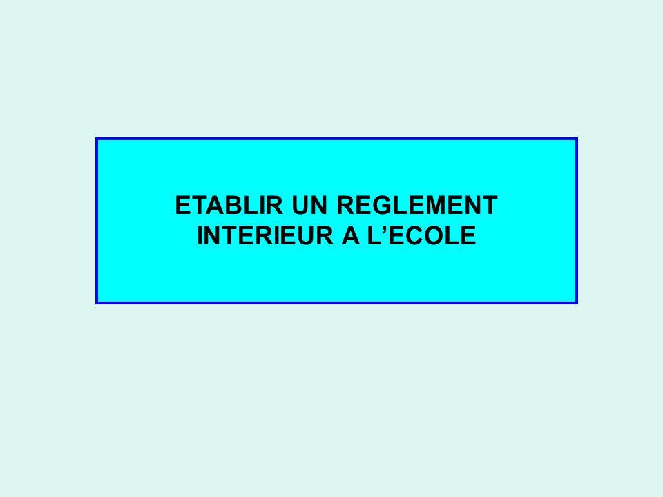 ETABLIR UN REGLEMENT INTERIEUR A L'ECOLE