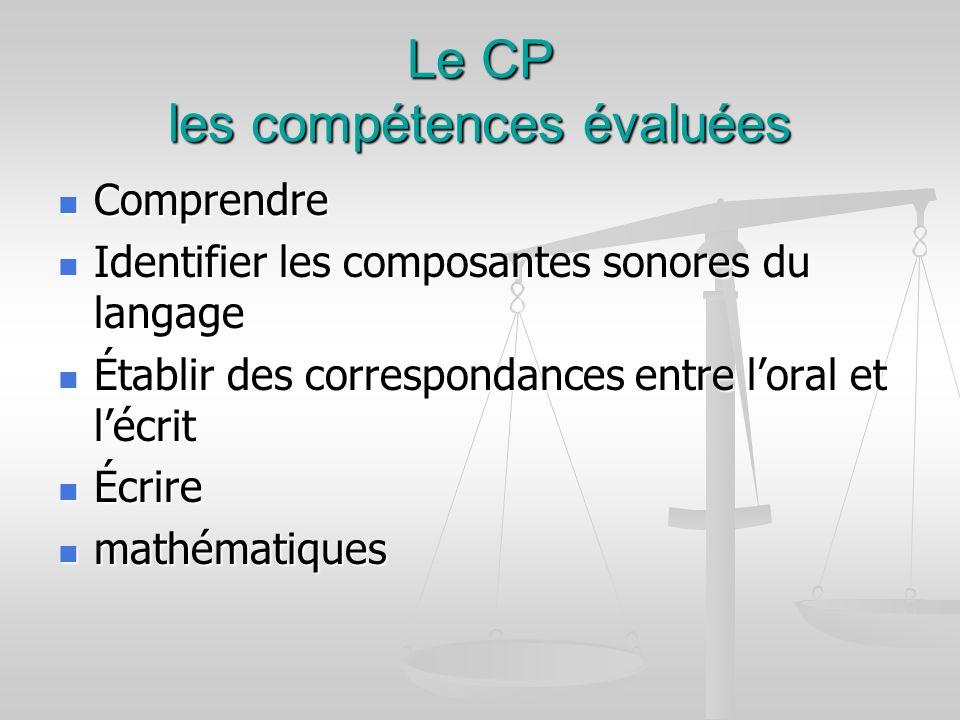 Le CP les compétences évaluées