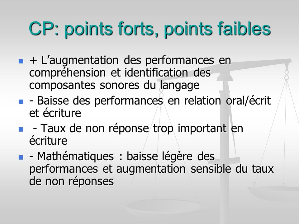 CP: points forts, points faibles