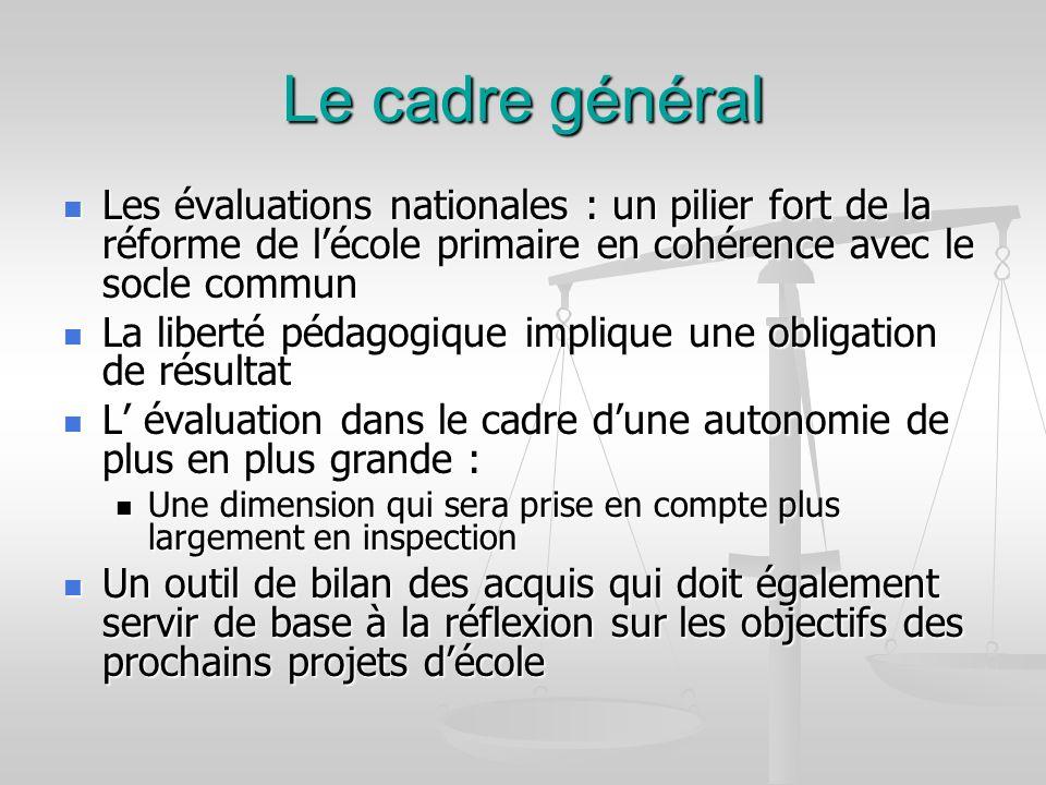 Le cadre général Les évaluations nationales : un pilier fort de la réforme de l'école primaire en cohérence avec le socle commun.