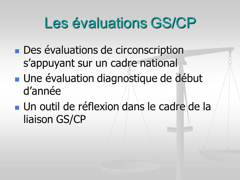 Les évaluations GS/CP Des évaluations de circonscription s'appuyant sur un cadre national. Une évaluation diagnostique de début d'année.