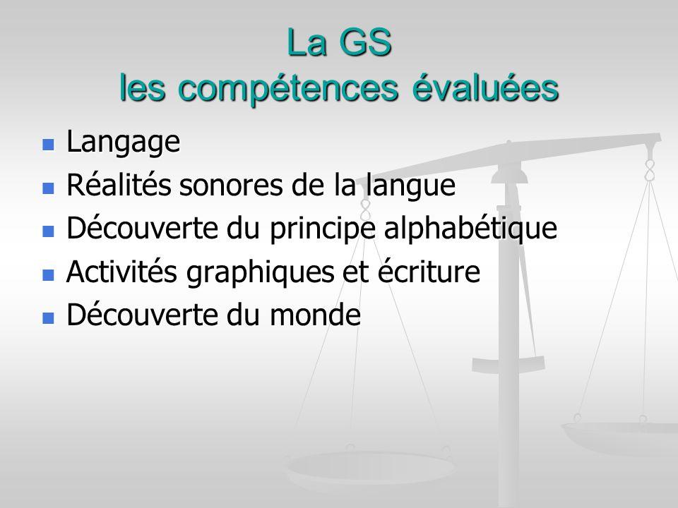 La GS les compétences évaluées