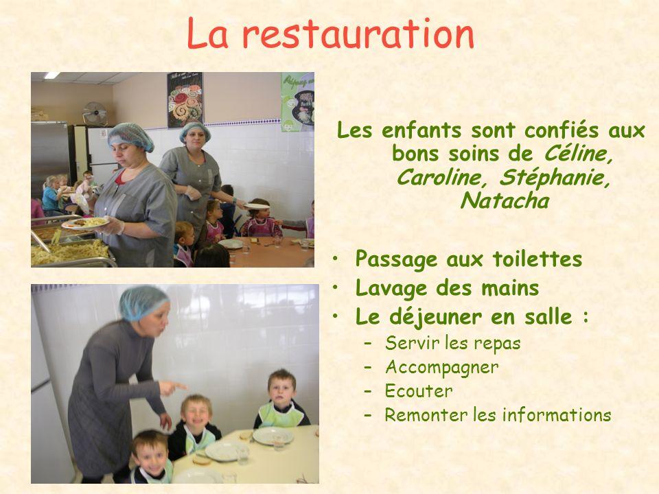 La restaurationLes enfants sont confiés aux bons soins de Céline, Caroline, Stéphanie, Natacha. Passage aux toilettes.