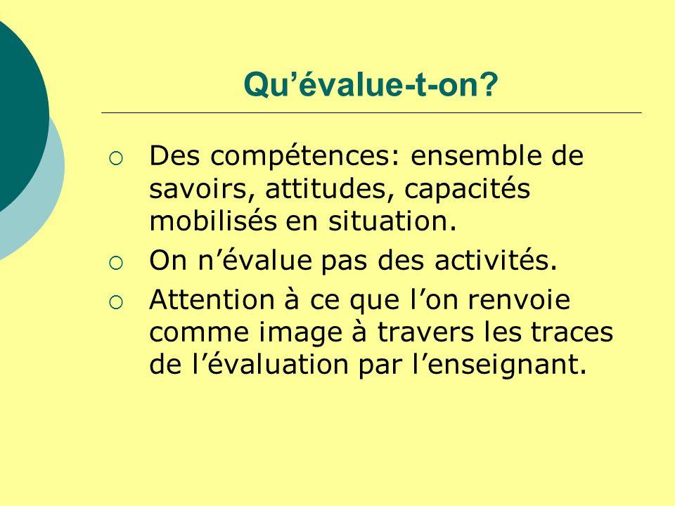Qu'évalue-t-on Des compétences: ensemble de savoirs, attitudes, capacités mobilisés en situation. On n'évalue pas des activités.