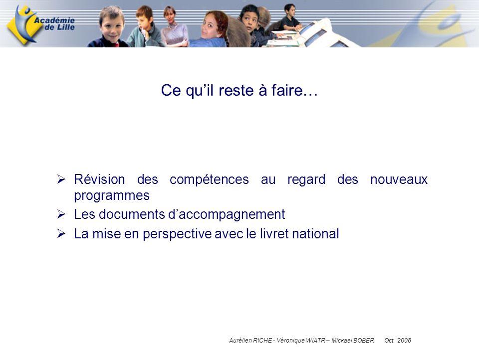 Ce qu'il reste à faire… Révision des compétences au regard des nouveaux programmes. Les documents d'accompagnement.