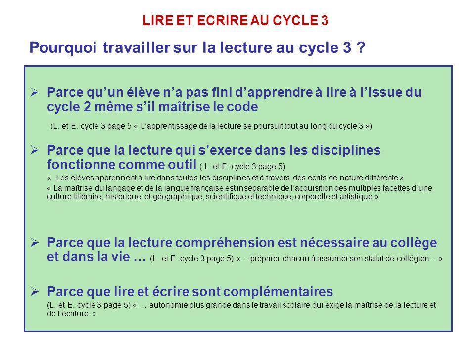 Pourquoi travailler sur la lecture au cycle 3