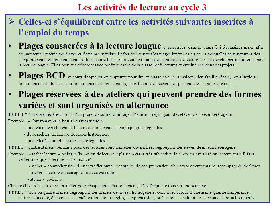 Les activités de lecture au cycle 3