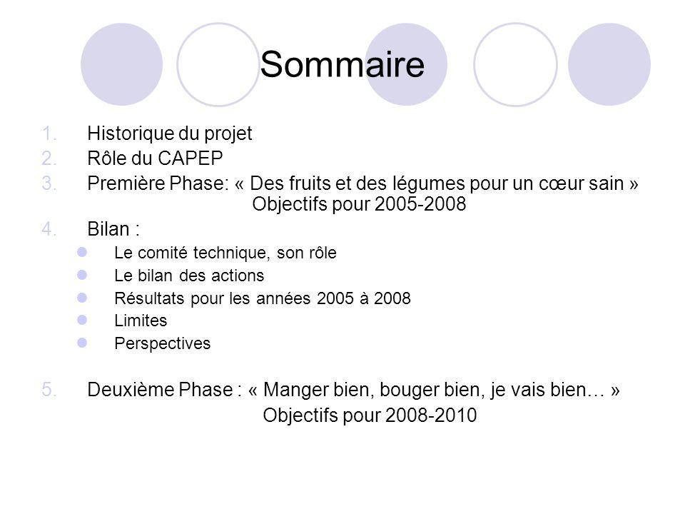 Sommaire Historique du projet Rôle du CAPEP