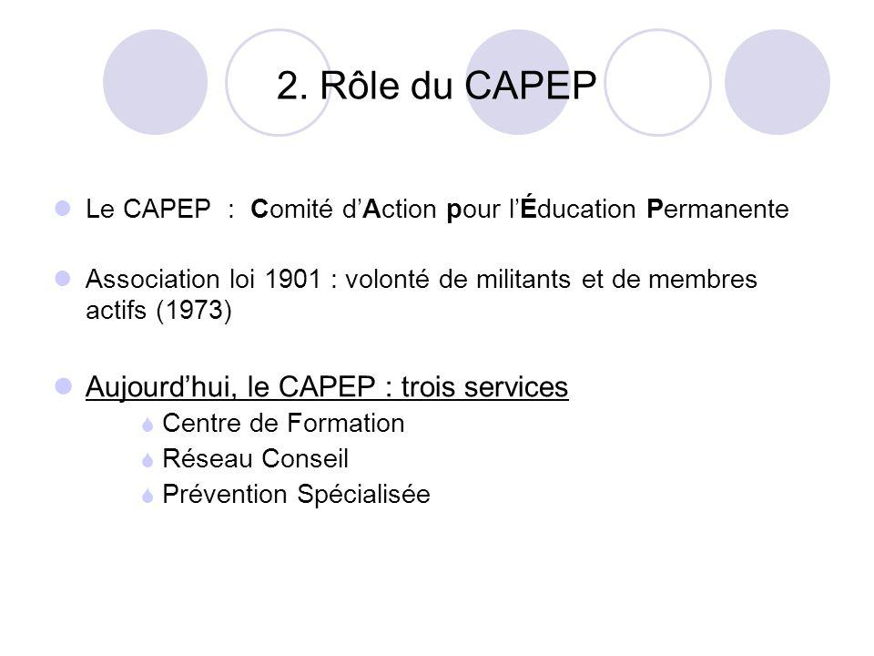 2. Rôle du CAPEP Aujourd'hui, le CAPEP : trois services