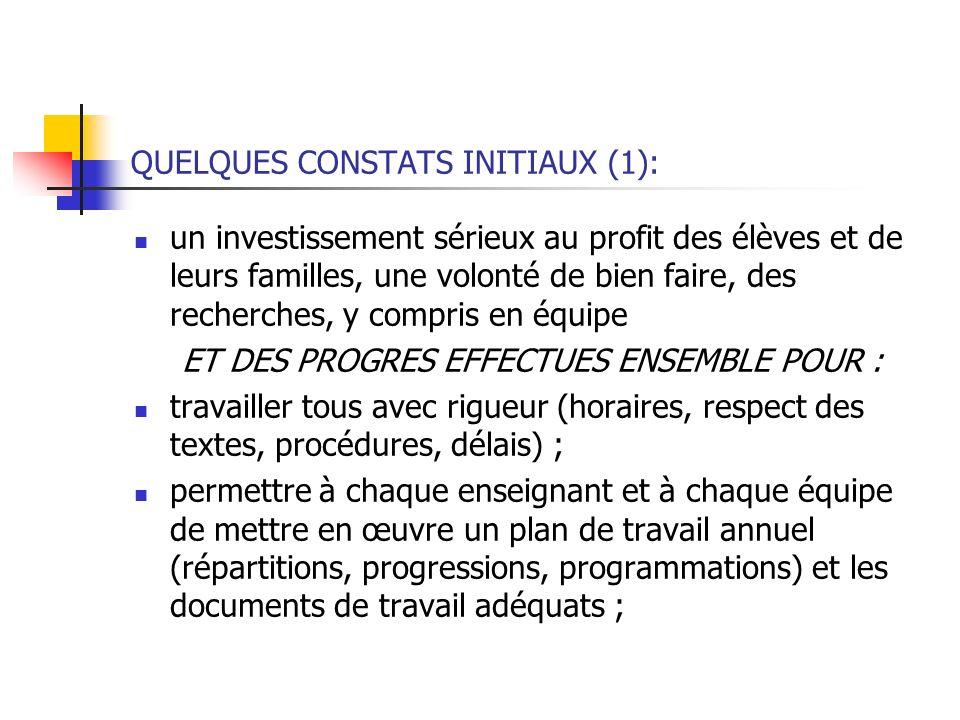 QUELQUES CONSTATS INITIAUX (1):