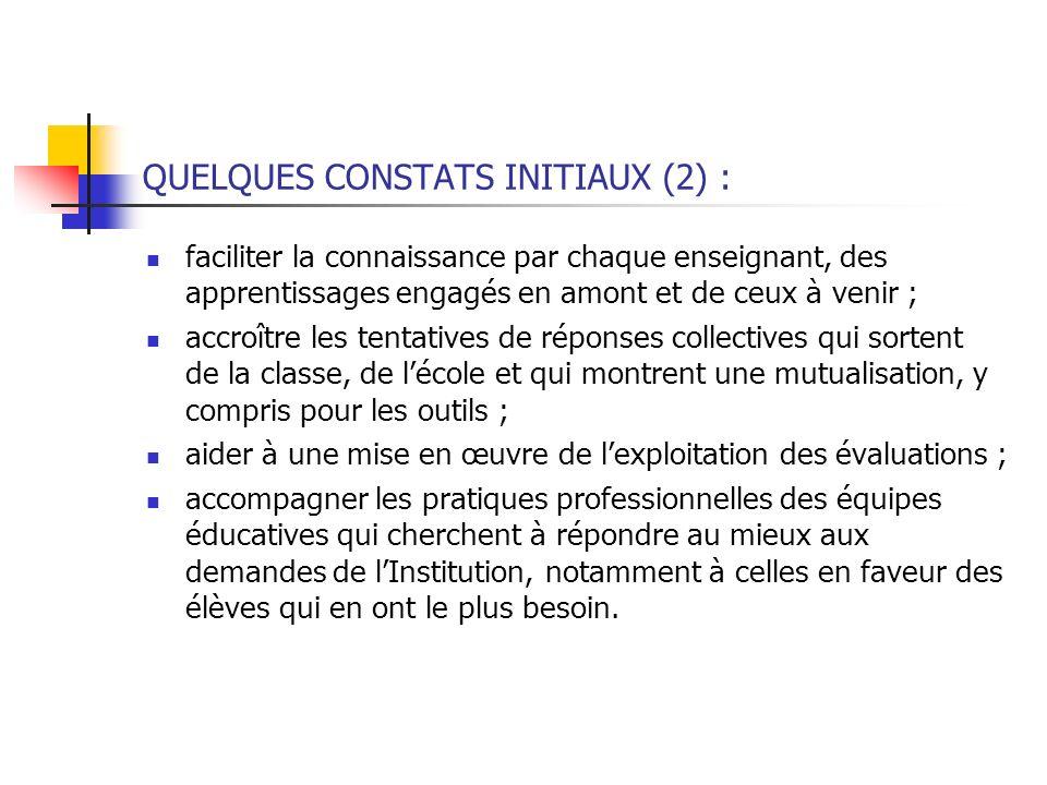 QUELQUES CONSTATS INITIAUX (2) :