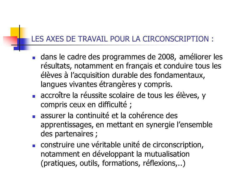 LES AXES DE TRAVAIL POUR LA CIRCONSCRIPTION :