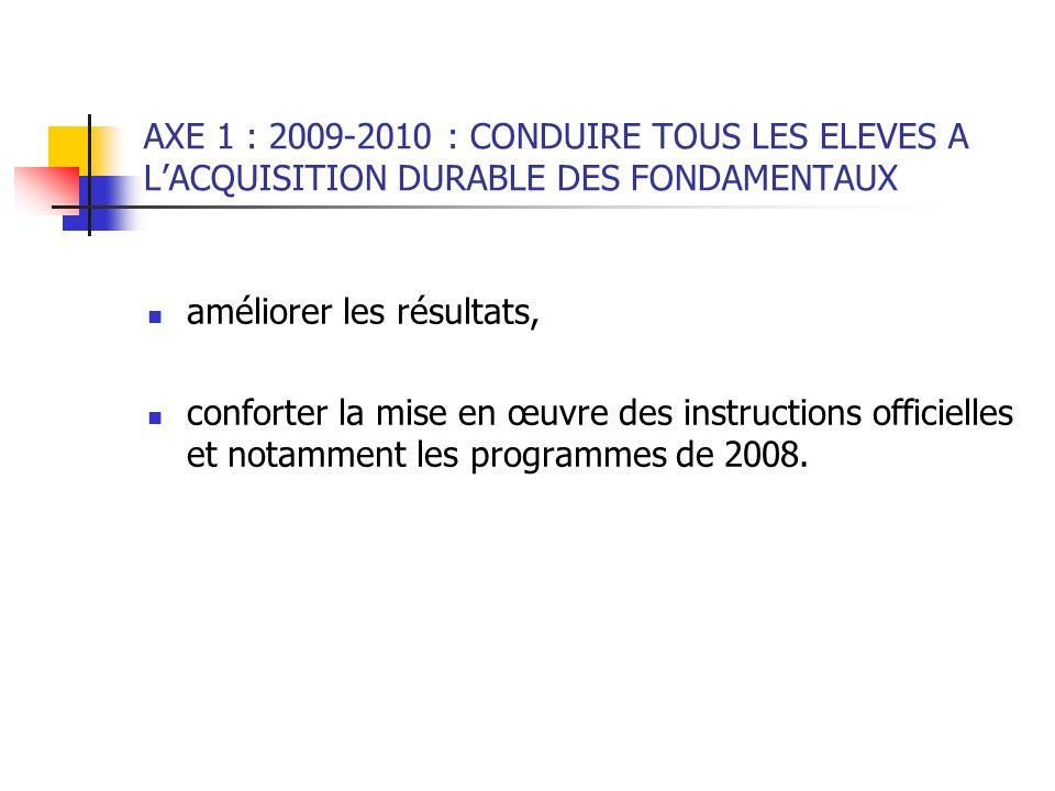 AXE 1 : 2009-2010 : CONDUIRE TOUS LES ELEVES A L'ACQUISITION DURABLE DES FONDAMENTAUX