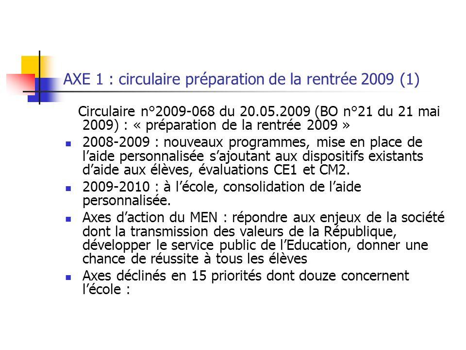 AXE 1 : circulaire préparation de la rentrée 2009 (1)