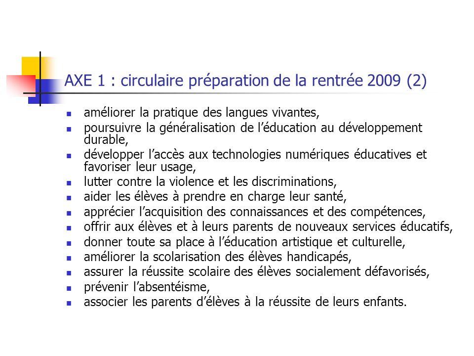 AXE 1 : circulaire préparation de la rentrée 2009 (2)