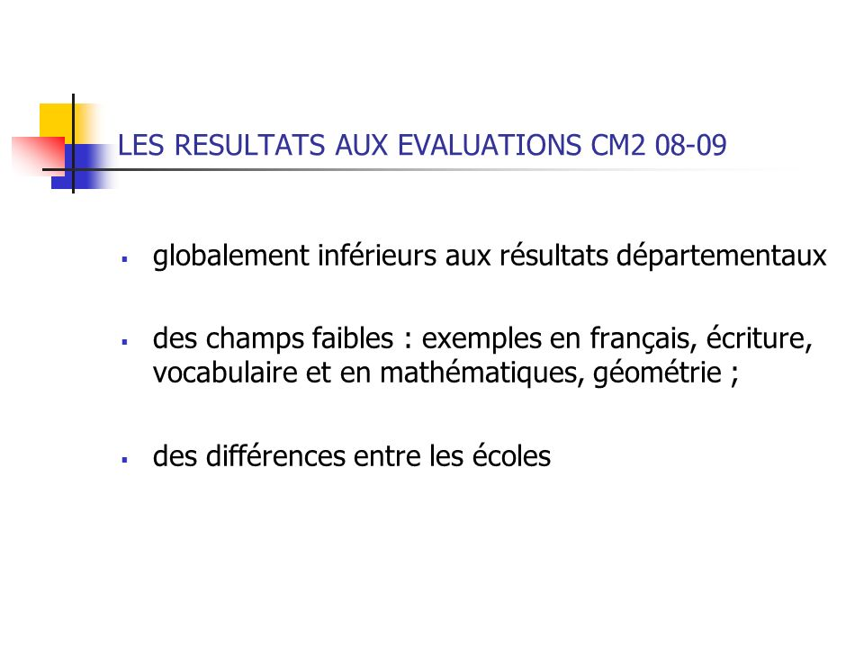 LES RESULTATS AUX EVALUATIONS CM