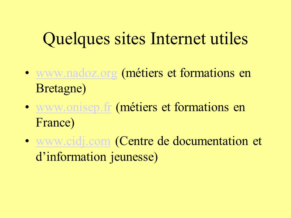 Quelques sites Internet utiles