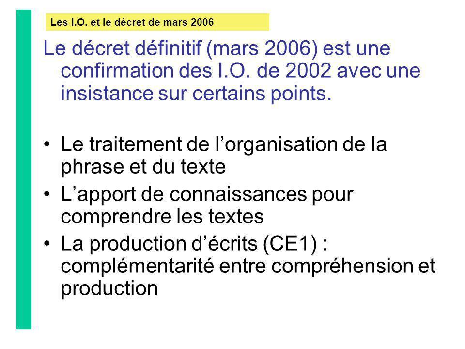 Le traitement de l'organisation de la phrase et du texte