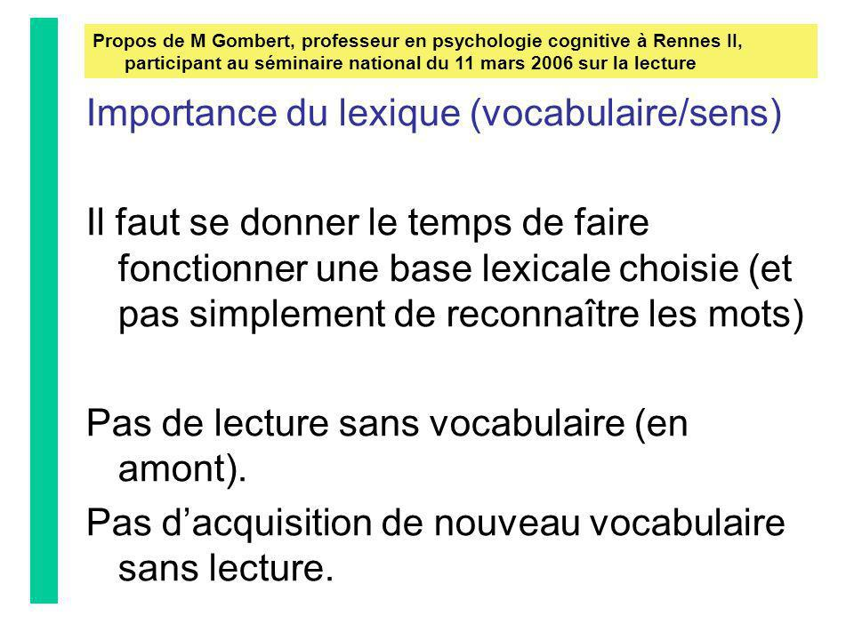 Importance du lexique (vocabulaire/sens)