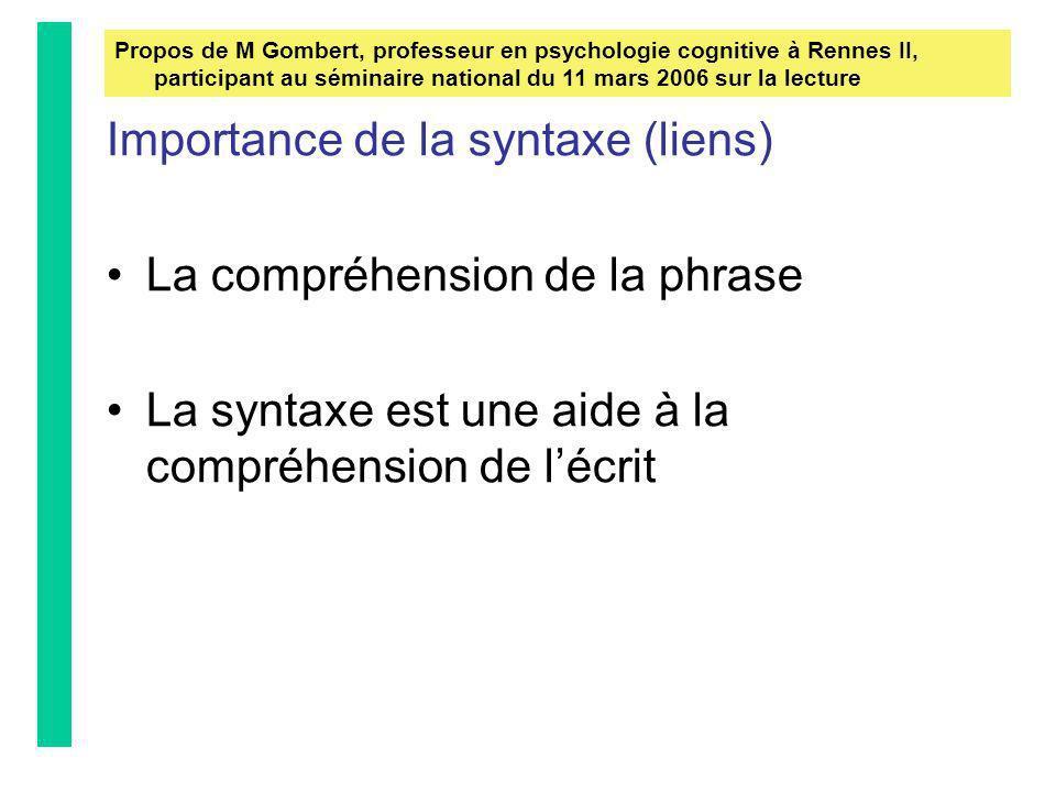 Importance de la syntaxe (liens) La compréhension de la phrase