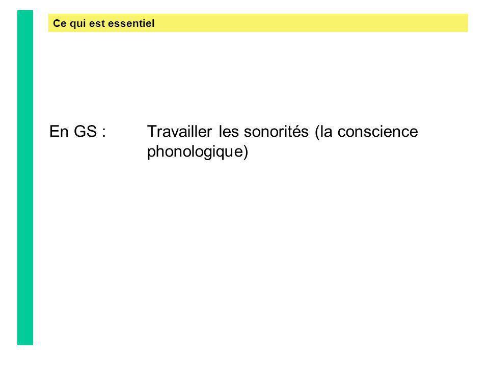 En GS : Travailler les sonorités (la conscience phonologique)